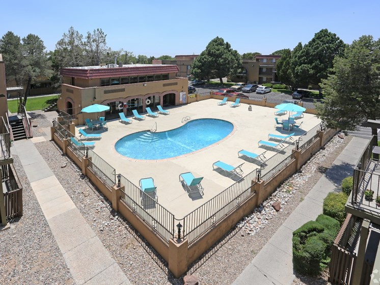 Pool & Pool Patio at Canyon Vista Apartments in Albuquerque, NM