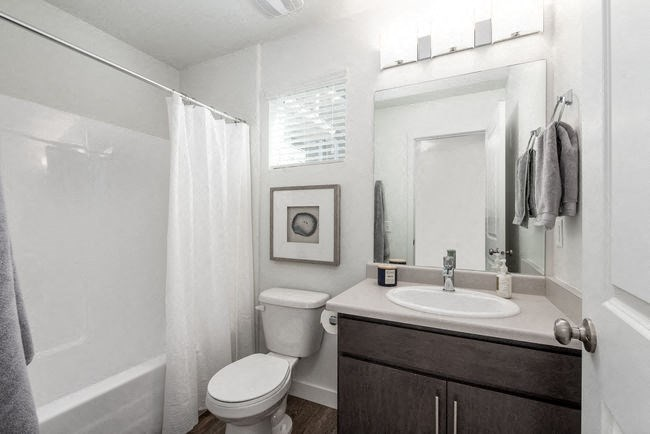 Bathroom with sink and shower