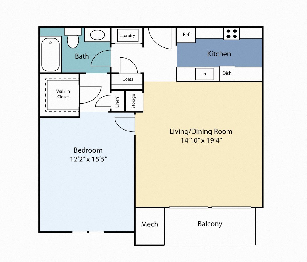 One Bedroom Clover Floor Plan 2