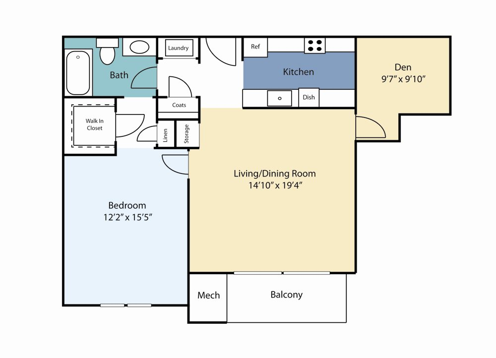 One Bedroom Emerald Floor Plan 3