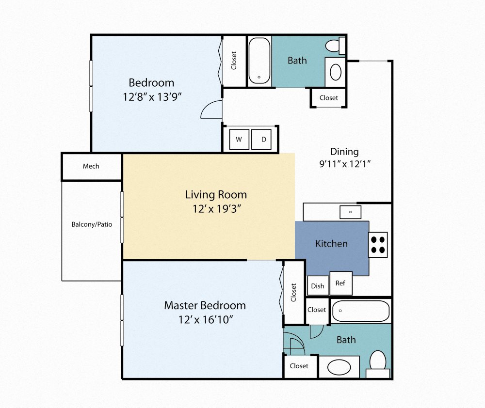 Two Bedroom Laurel Floor Plan 5