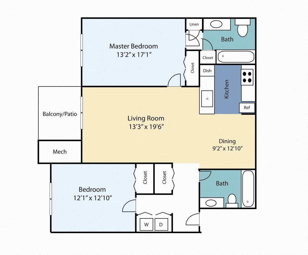 Two Bedroom Myrtle Floor Plan 6