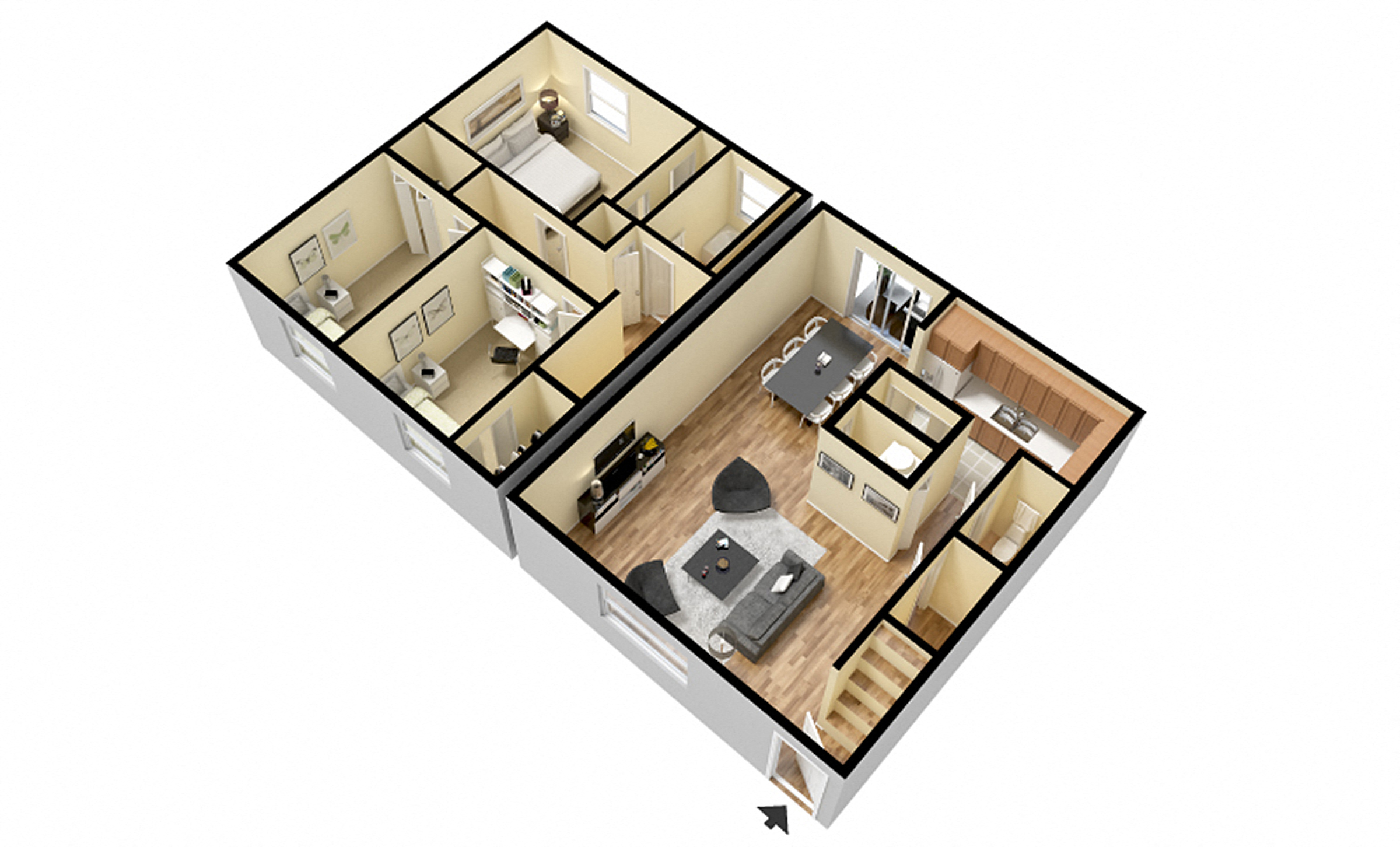 Perfect 3 Bedroom Townhome Floor Plan 4. 1 Bedroom Apartment