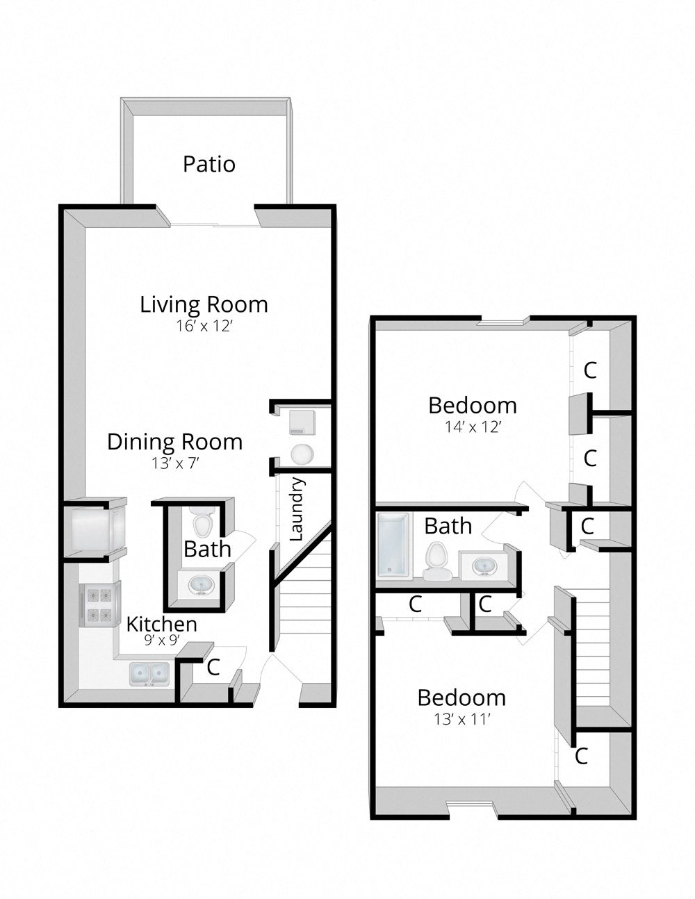 Two Bedroom Townhome in Fort Wayne, Indiana