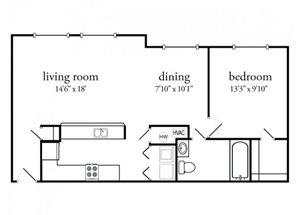 1 Bedroom 1 Bath Premium