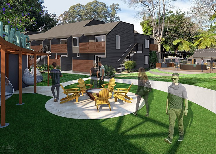 Rendering of Firepit l The Hilltop Apartments Santa Cruz CA