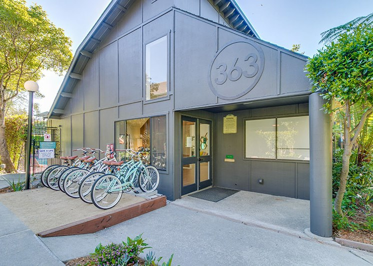 Building with bike racks l The Hilltop Apartments Santa Cruz CA