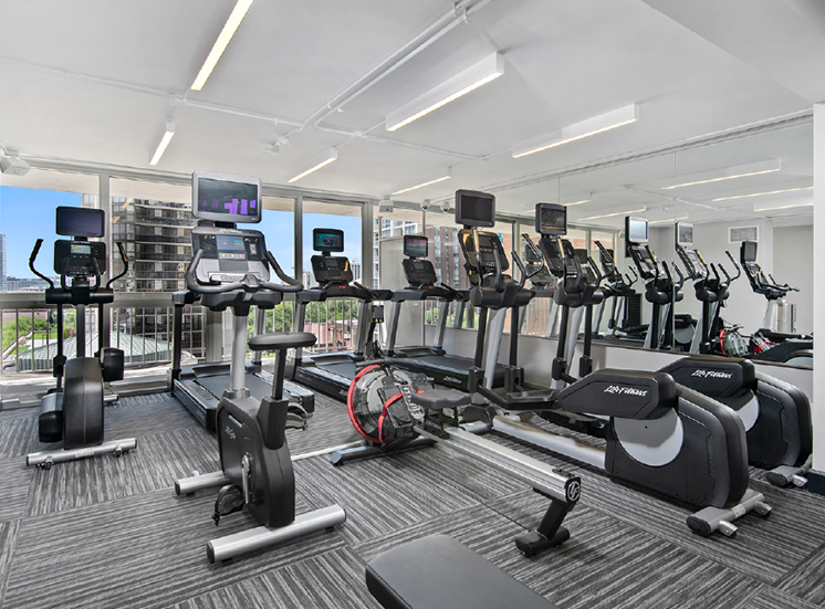 Fully Equipped Fitness Center at One East Delaware, Chicago