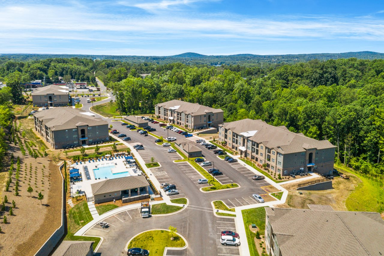Aerial view of the community at The Lodges at Lake Wylie in Lake Wylie, SC
