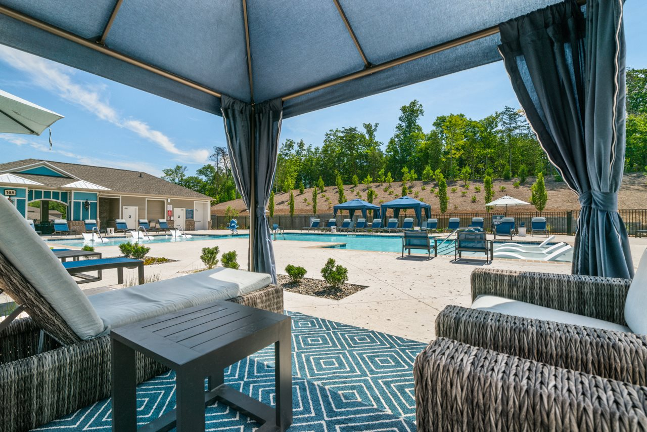 Poolside cabanas at The Lodges at Lake Wylie in Lake Wylie, SC