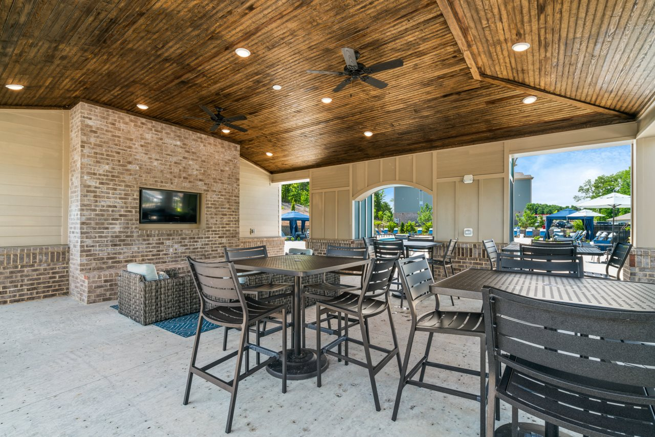 Outdoor lounge at The Lodges at Lake Wylie in Lake Wylie, SC