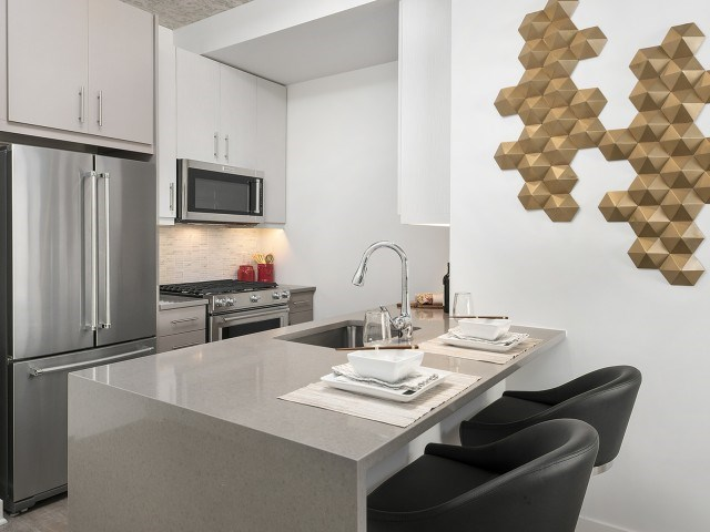 Eat-in Kitchens Kitchen with stainless steel appliances and quartz waterfall countertops
