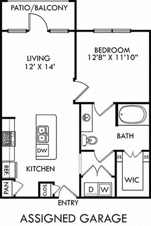 Bryant with Assigned Garage. 1 bedroom apartment. Kitchen with island open to living room. 1 full bathroom. Walk-in closet. Patio/balcony.