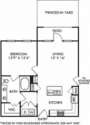 Encanto with Attached Garage + Fenced-in Yard. 1 bedroom apartment. Kitchen with island open to living room. 1 full bathroom, double vanity. Walk-in closet. Patio/balcony open to yard.