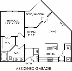Griffith with Assigned Garage. 1 bedroom apartment. Kitchen with island open to living/dinning rooms. 1 full bathroom, double vanity. Walk-in closet. Patio/balcony.
