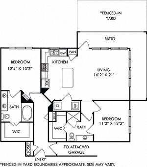 The Millennium + Attached Garage + Yard. 2 bedrooms. Kitchen with island open to living room. 2 full bathrooms, double vanity in master, shower stall in guest. Walk-in closets. Patio open to yard.