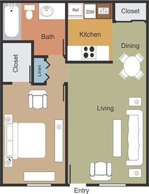 Spacious 1 Bedroom 1 Bathroom