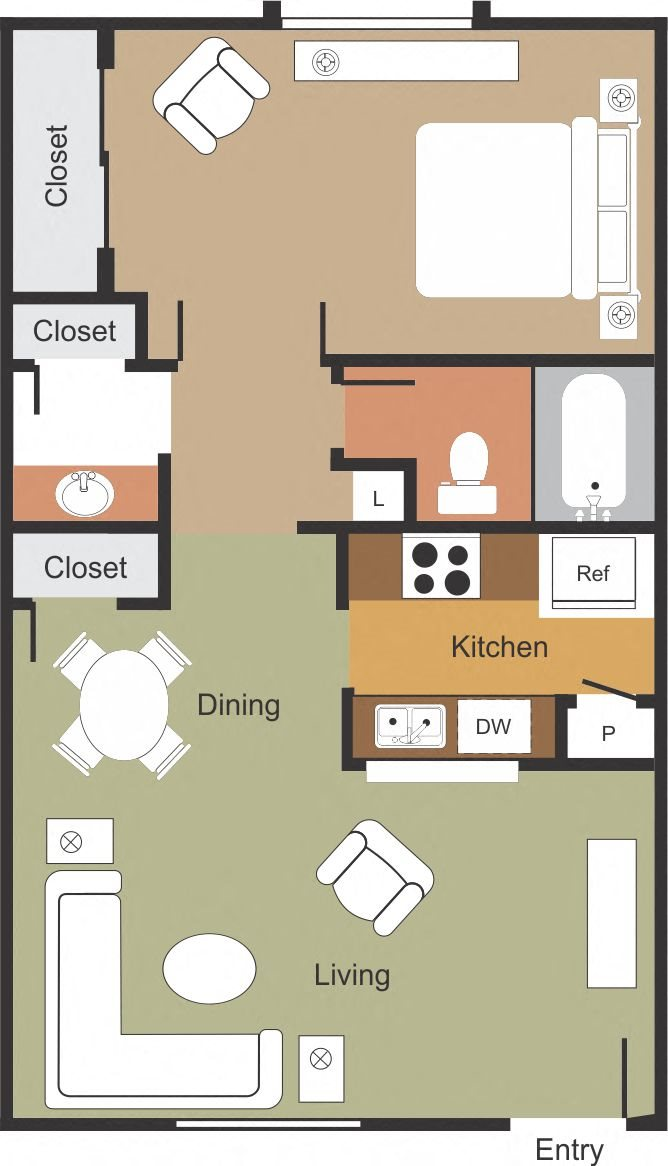 Cozy 1 Bedroom 1 Bathroom Floor Plan 2