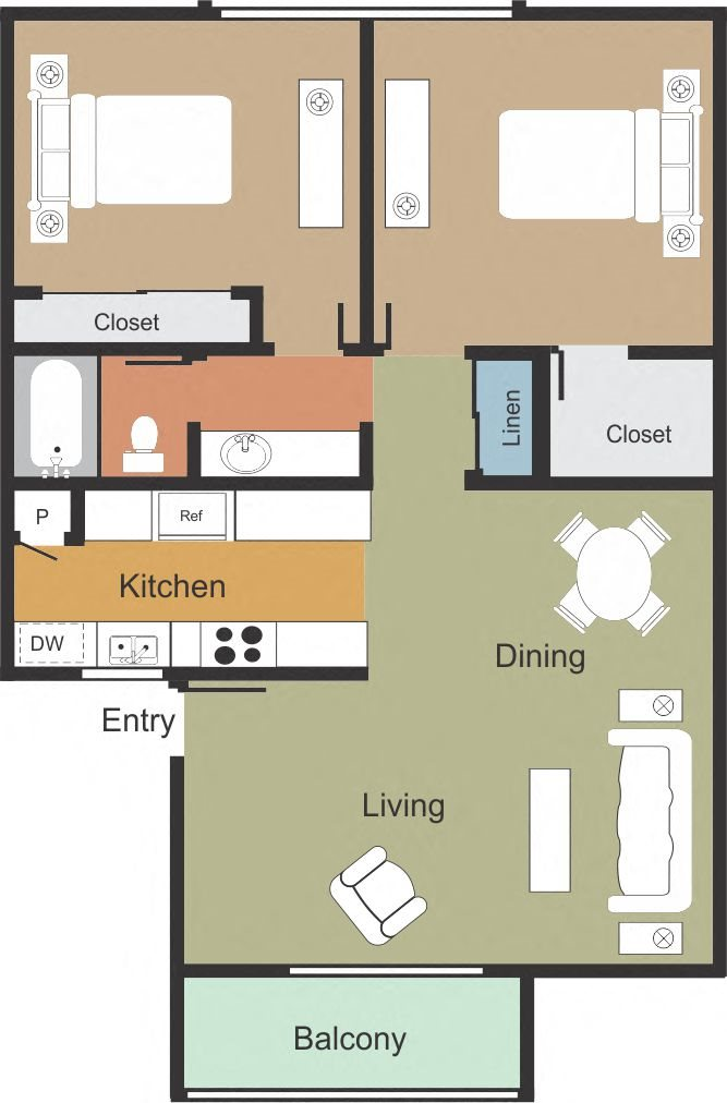 2 Bedroom 1 Bathroom Floor Plan 4