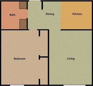 Timber Creek One Bed One Bath Apartment Floorplan