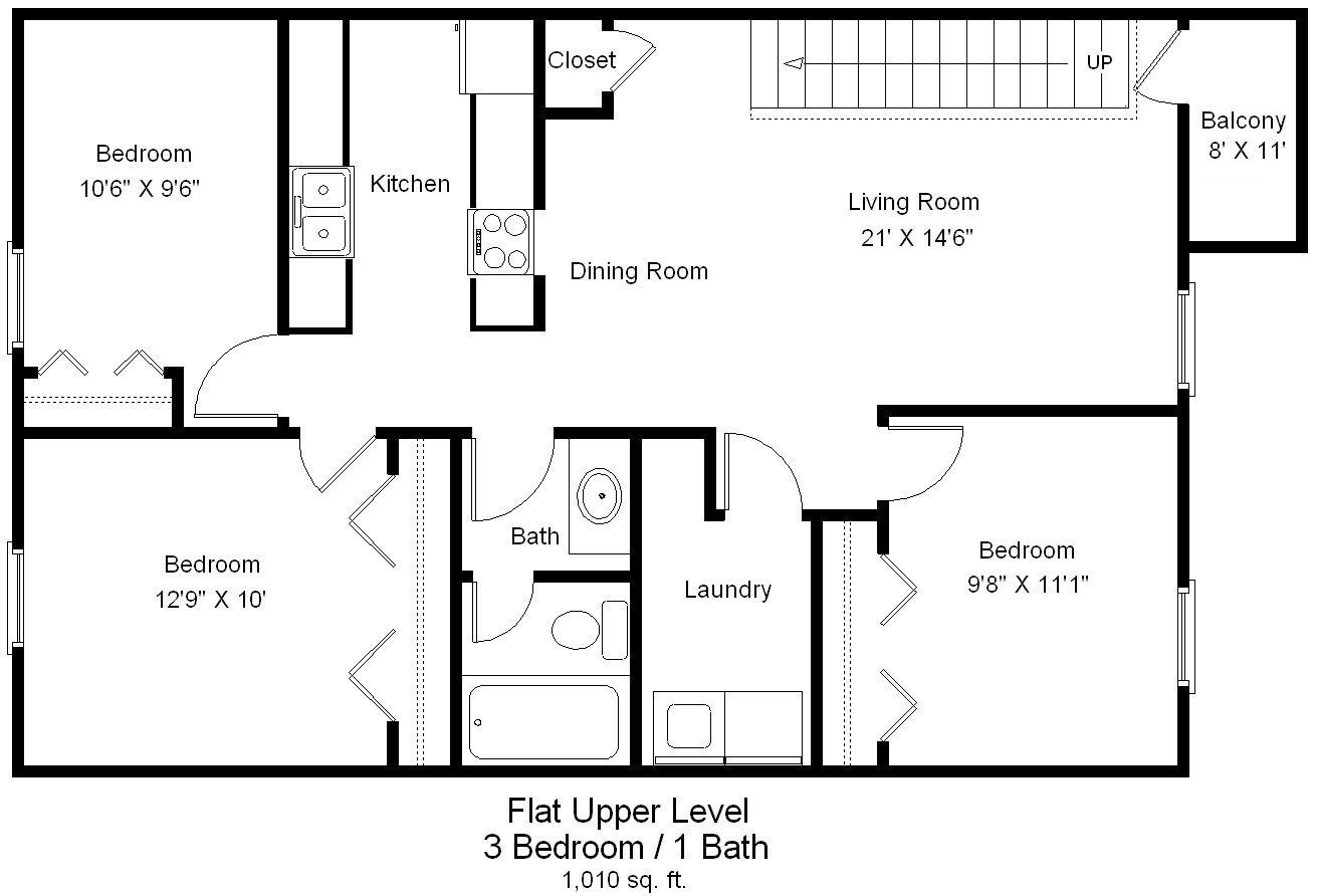 Three Bedroom Upper Level Floor Plan 3