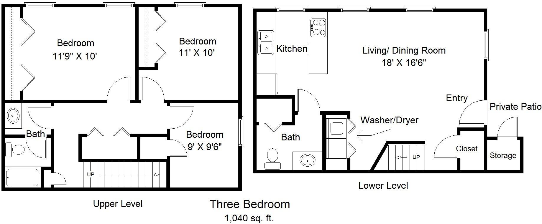 Three Bedroom Townhome Floor Plan 1