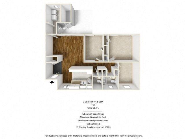 3 BEDROOM FLAT Floor Plan 2