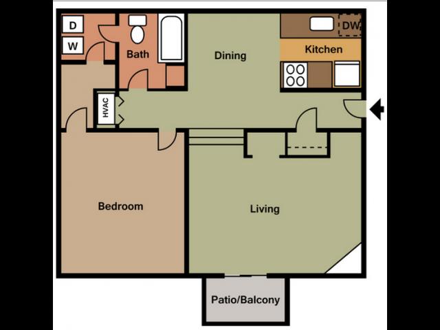 1X1D Floor Plan 2