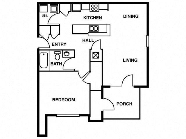 1BD/1BA Floor Plan 1