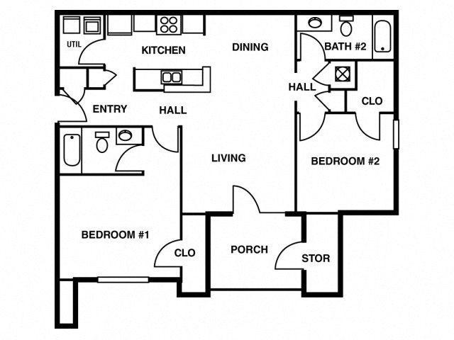 2BD/2BA Floor Plan 2