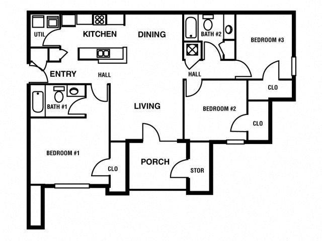 3BD/3BA Floor Plan 3