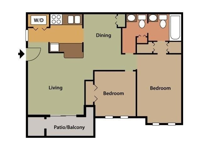 two bedroom, one and a half bath Floor Plan 3