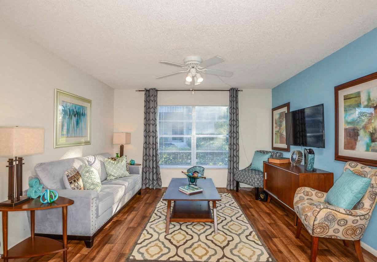 Living Room at Somerset Apartments in Largo, FL