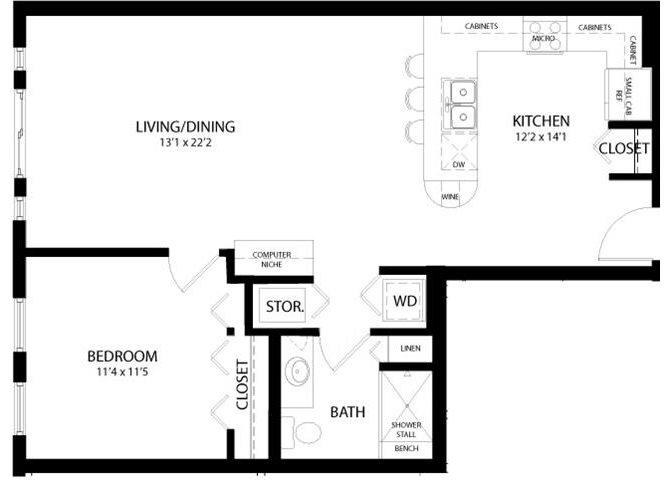 1 Bedroom A Floor Plan 3