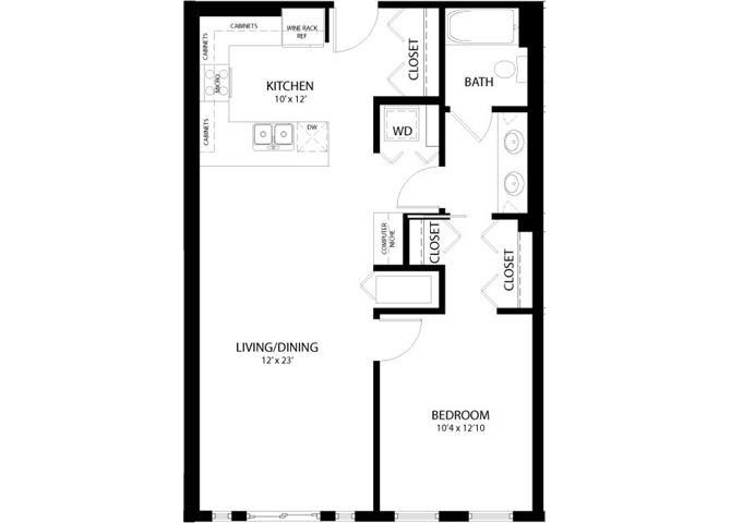 1 Bedroom B Floor Plan 4