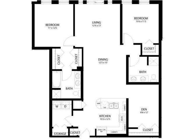 2 Bedroom Den Floor Plan 10