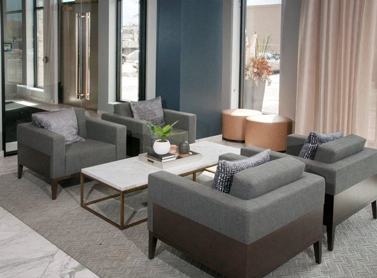 Stylish Sofa Chairs Residences at 1700 Lobby Community Room