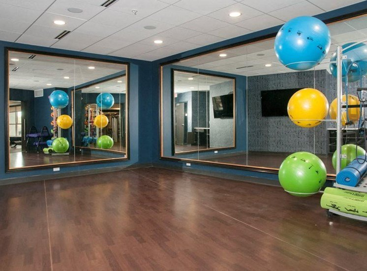 Fitness Center With Yoga/Stretch Area Residences at 1700 Fitness Center Yoga Studio
