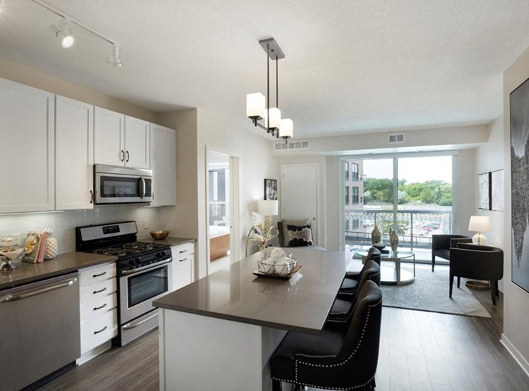 Well Equipped Kitchen Residences at 1700 Model Kitchen Living Room