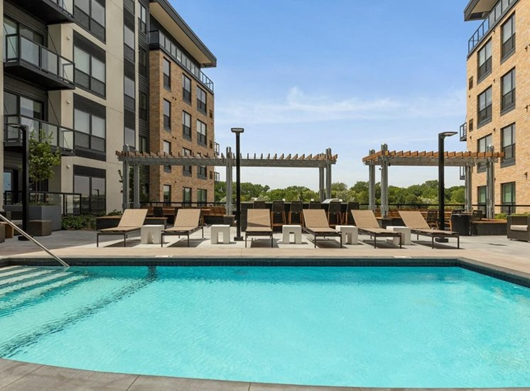 Relaxing Pool Residences at 1700 Outdoor Pool Sun Deck