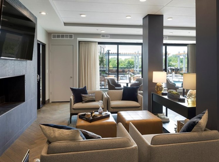 Lounge Area With Tv Residences at 1700 Community Room