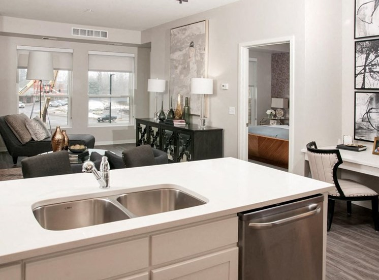 Stainless Steel Sink With Faucet In Kitchen Residences at 1700 Model Kitchen Living Room