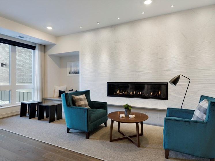 Fireplace at The M On Hennepin Apartments in Minneapolis, MN