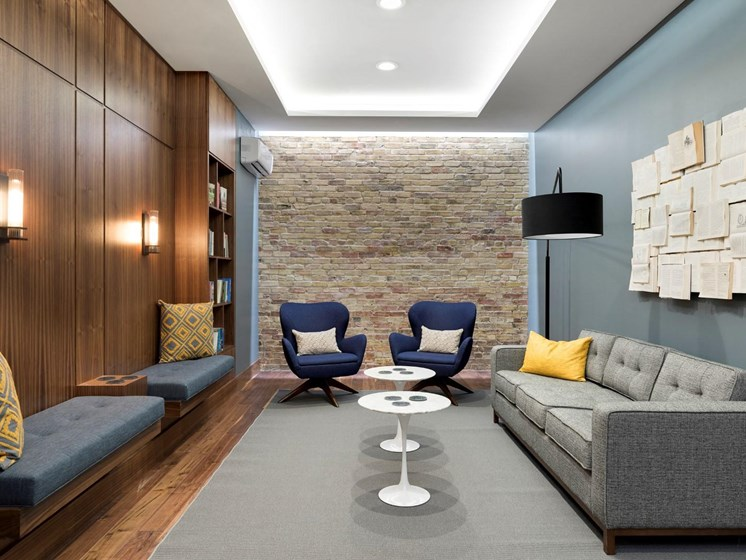 Seating in Community Lounge at The M on Hennepin Apartments in Minneapolis, MN