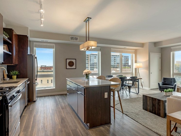 Kitchen Area With Windows at The M on Hennepin Apartments in Minneapolis, MN