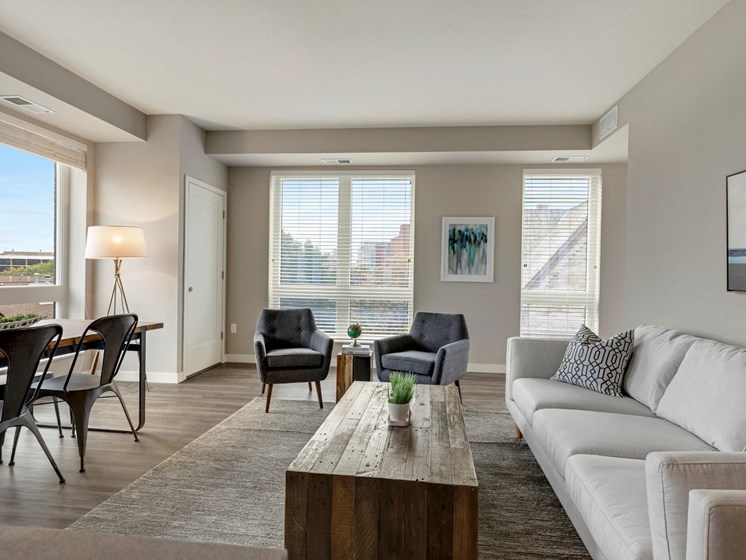 Plenty of Natural Lighting in Living Area at The M on Hennepin Apartments in Minneapolis, MN