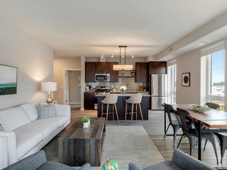 Kitchen, Living, and Dining Space at The M on Hennepin in Minneapolis, MN