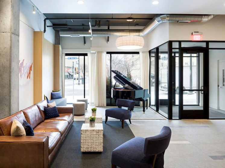 Lobby Lounge at The M On Hennepin Apartments in Minneapolis, MN