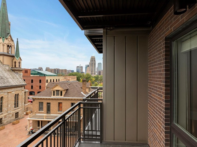 Balcony Overlooking City at The M on Hennepin in Minneapolis, MN