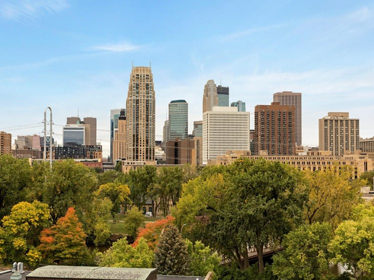 City Skyline in Daytime at The M on Hennepin in Minneapolis, MN
